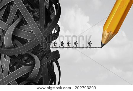 Business solution opportunity as a group of people running out of a tangled roads as a corporate metaphor for creating a corridor for success as with 3D illustration elements.