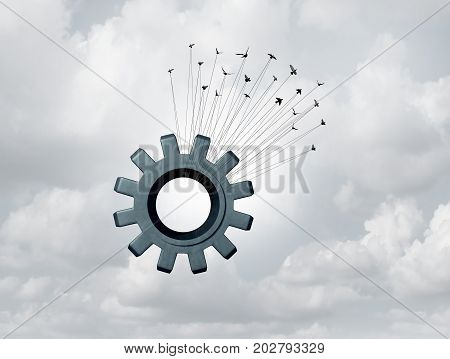 Business alliance cooperation concept as a group of organized birds lifting up a huge industry gear symbol as a corporate unity success metaphorwith 3D illustration elements.