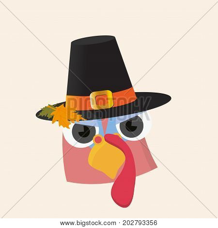 Vector Cartoon illustration for Thanksgiving day: cute turkey bird mascot face with pilgrim hat on. A Maple Leaf on hat. Great both for Canadian and American Thanksgiving day.