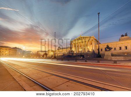 Parlament of Austria during sunset. Vienna. Austria. Europe.