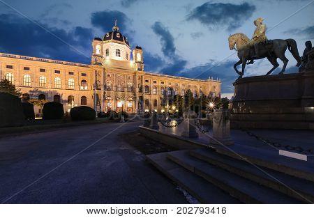 Naturhistorisches Museum Wien after sunset in Austria. Europe.