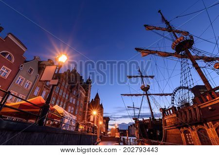 Pier and ships in Gdansk in the morning Poland. Europe.