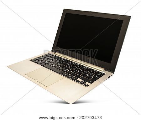 Hovering rose gold laptop with black screen and popular design isolated on a white background.