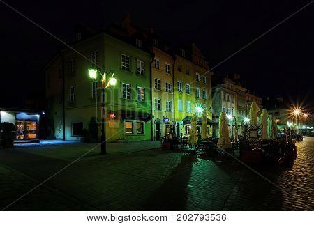 Street architecture in Zamkowa square in Warsaw Poland.