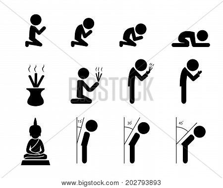 Respect and prayer icon in Asian style vector design