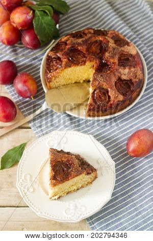 Plum Pie Or Cake With Cinnamon And Sugar. Plum Cake From The Newspaper New York Times . Selective Fo