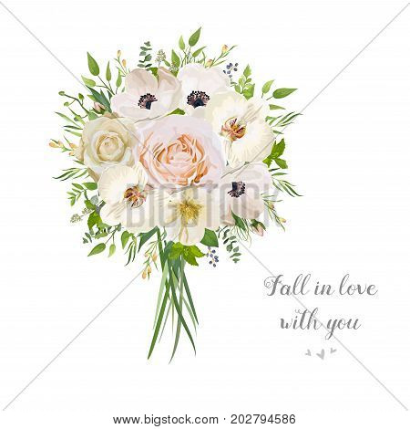 Flower floral vector bouquet of garden pink peach Rose Anemone white orchid camellia natural Eucalyptus seeded branch wax flowers mint leaf berry Illustration. Elegant card wedding decorative bouquet
