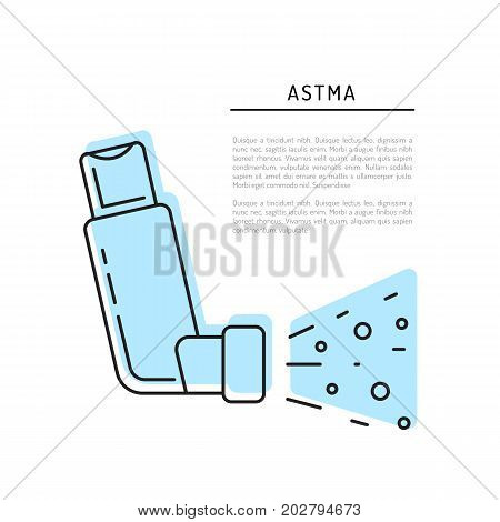 Vector icon of asthma inhaler isolated on a white background.