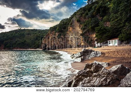 Scenic coastline landscape with cliffs and rocks in Europe country on Balkan coastline