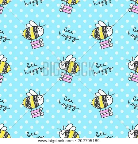 bee happy vector seamless pattern of bee gift box and lettering
