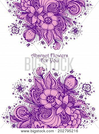 Template with abstract flowers bouquet lilac on white spring  composition for decoration  package of perfume or for cosmetic shampoo soap or for wedding invitation