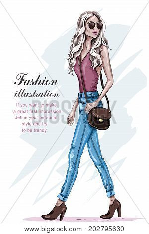 Beautiful fashion model with blonde hair. Hand drawn stylish young woman walking. Fashion woman with bag. Sketch.