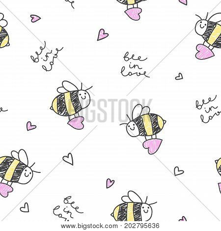 bee in love vector seamless pattern of bees hearts and lettering