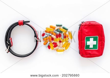 pets cure with meds for treatment set on white table background top view mock up
