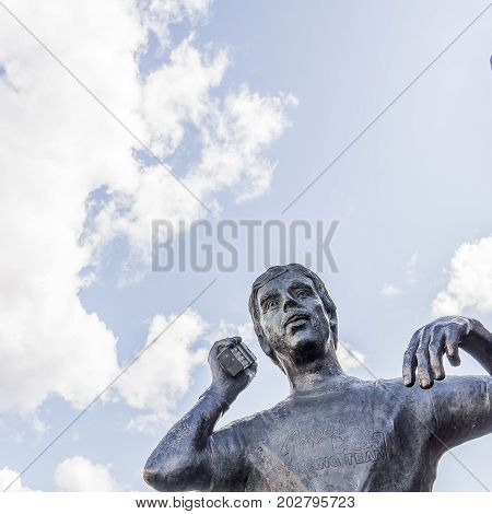 Bronze statue of Goran Karlsson the founder of GeKas emporium in 1963 Ullared Sweden September 3 2017