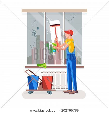 Office cleaning. Worker wipes the dirt off the window. Vector illustration in a flat style.