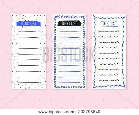 To-do list isolated on an abstract background. Blank lists in vector for daily planning for business, for school, office, shopping, personal affairs