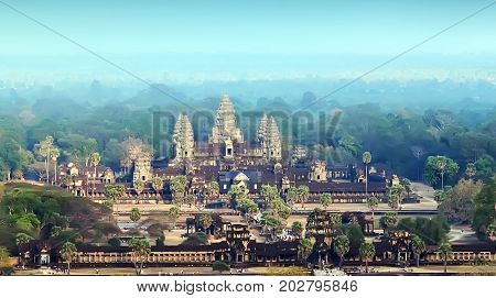 Ruins of Angkor Wat Siem Reap Cambodia. Ancient Khmer architecture in jungle.