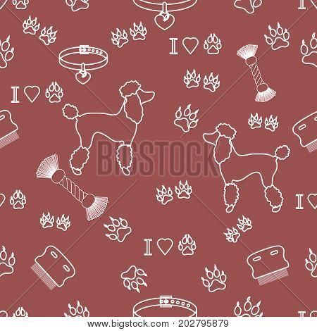 Seamless Pattern With Poodle Silhouette, Comb, Collar, Dog Tracks, Hearts And Toy For Dogs From A Ro