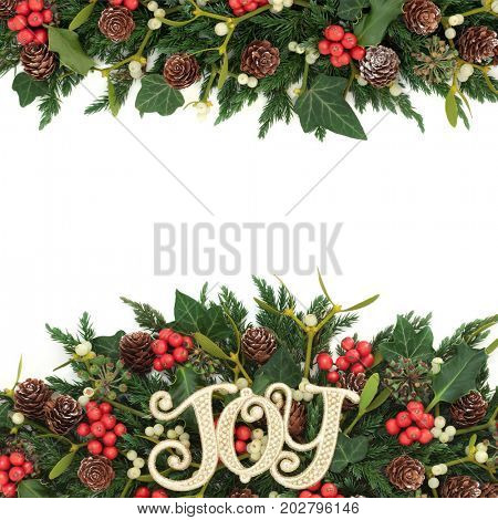 Christmas background border with gold joy sign, holly, ivy, mistletoe, fir and pine cones on white.