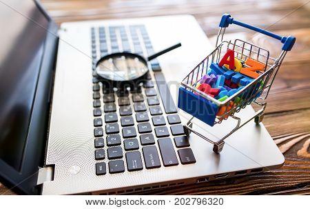 Online Shopping Concept With Magnifying Glass And Miniature Cart