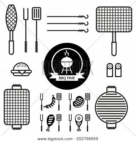 Set of icons with different grids to barbecue. Grill fish grill meat sausage grill skewer spatula fork. Cartoon flat vector illustration. Objects isolated on a background.