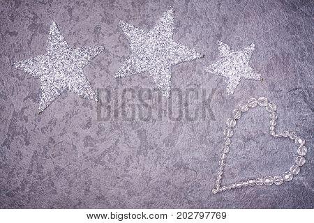 Christmas greeting card. Noel festive background. New year symbol. Ice heart.