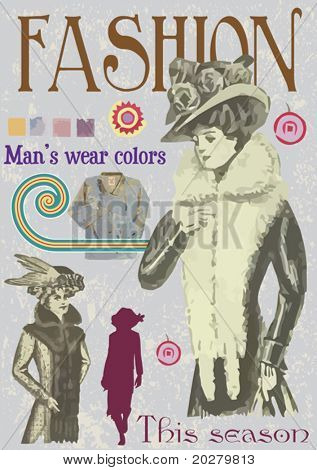 Fake vintage fashion magazine cover illustration, vector format