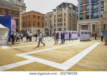 Paternoster Square London UK - August 8 2017: View of square with the photocity photographic exhibition going on.