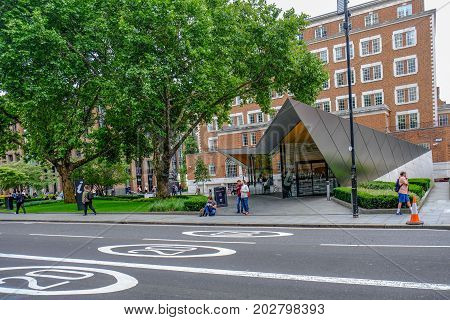 St. Paul's London UK - August 3 2017 Information centre triangular modern building. Environmentally friendly and situated opposite St. Pauls.