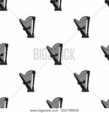 Playing the harp stringed musical instrument. Orchestral harp single icon in black style vector symbol stock illustration .