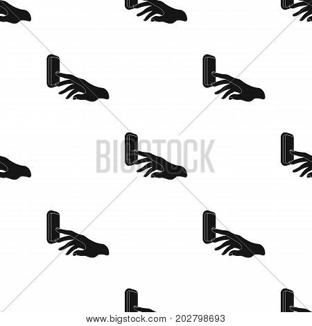 A hand that includes an electric switch. Push Button Switch single icon in black style vector symbol stock illustration .