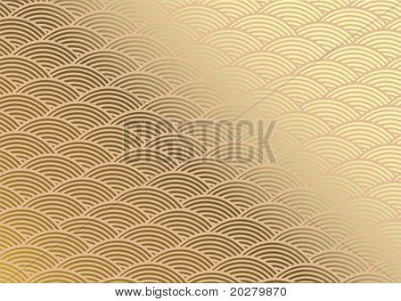 Traditional japanese ornamental pattern- seigaiha, golden. Vector format