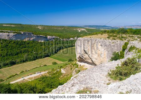 Limestone canyon and dal. Limestone agnone in the mountains of Crimea.