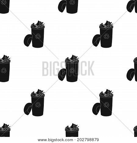 A full garbage can with waste. Rubbish and Ecology single icon in black style vector symbol stock illustration ,