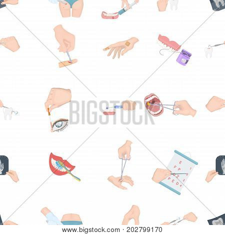 Anesthetic injection, examination of the tooth and other  icon in cartoon style. wound treatment, vision check icons in set collection.