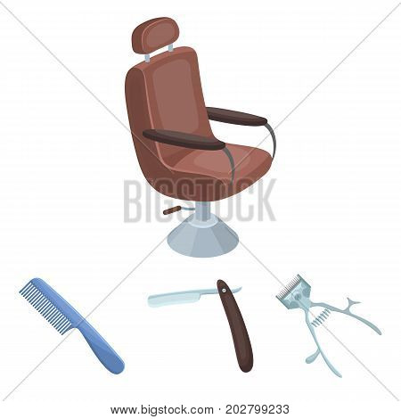 A razor, a mechanical hair clipper, an armchair and other equipment for a hairdresser.Barbershop set collection icons in cartoon style vector symbol stock illustration .