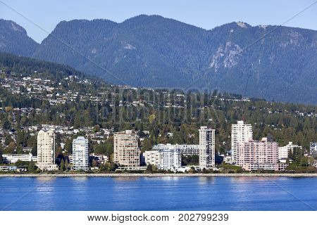 West Vancouver district surrounded by mountains (Vancouver British Columbia).