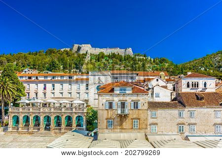 Scenic colorful view at medieval famous town Hvar in Croatia, Europe.