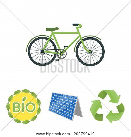 Bio label, eco bike, solar panel, recycling sign.Bio and ecology set collection icons in cartoon style vector symbol stock illustration .