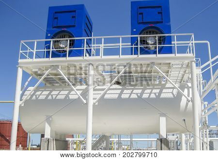 Water Cooling Tower. Oil Refinery. Equipment For Primary Oil Ref