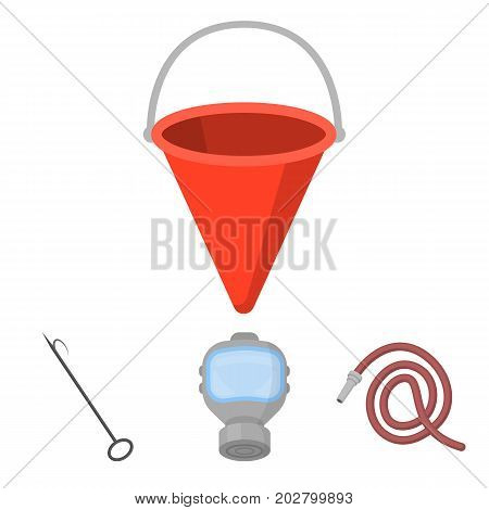 Gas mask, hose, bucket, bagore. Fire department set collection icons in cartoon style vector symbol stock illustration .