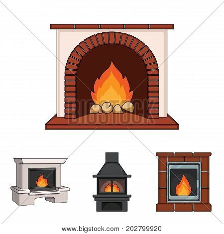 Fire, warmth and comfort. Fireplace set collection icons in cartoon style vector symbol stock illustration .