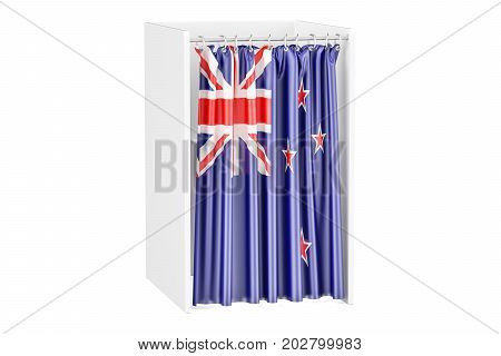 Vote in New Zealand concept voting booth with flag 3D renderingisolated on white background