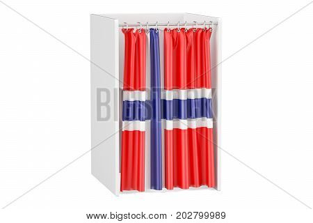 Vote in Norway concept voting booth with Norwegian flag 3D rendering isolated on white background