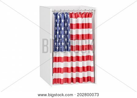 Vote in USA concept voting booth with American flag 3D rendering isolated on white background