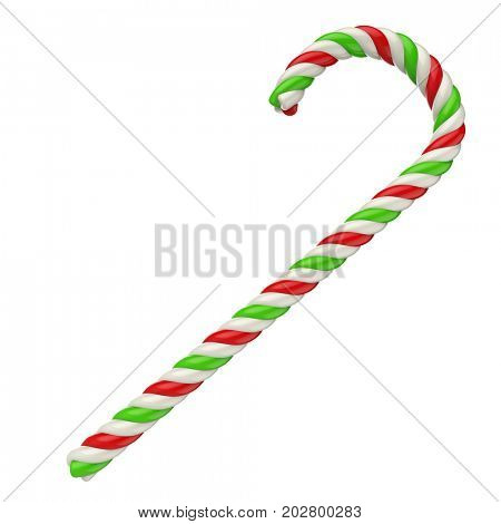 White, red and green candy cane isolated on white background. 3D illustration.
