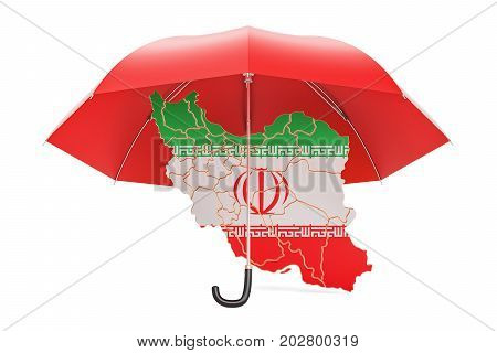 Iranian map under umbrella. Security and protect concept 3D rendering