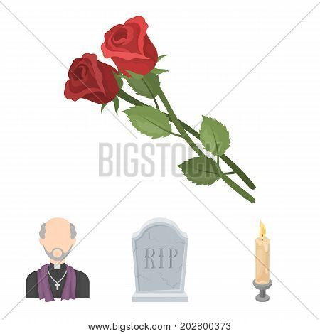 A granite tombstone with an inscription, a mourning candle, a pasteur, a priest, mourning roses. Funeral ceremony set collection icons in cartoon style vector symbol stock illustration .