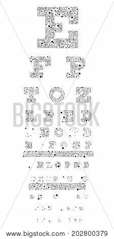 eye test board made of looking eyes - all on a white background
